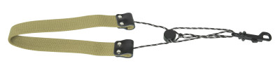 Fully-adjustable GoodGroove saxophone strap with soft neck padding, olive green