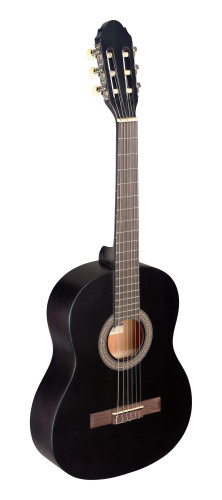 3/4 black classical guitar with linden top
