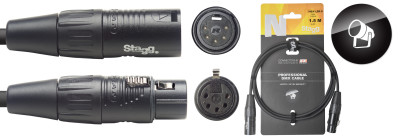 DMX cable, XLR/XLR (m/f) (5 pins), 1.5 m (5'), N-series