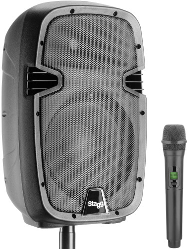"10"" 2-way active speaker, analog, class A/B, with Bluetooth, 1 UHF microphone, 60 watts peak power"