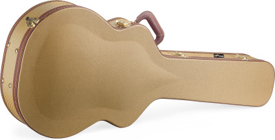 Vintage-style series gold tweed deluxe hardshell case for jumbo guitar