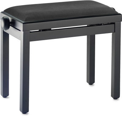 Matt black piano bench with black smooth velvet top