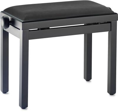 Banquette de piano, noir mat, avec pelote en velours noir lisse