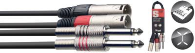 Câble bretelle, XLR/jack (m/m), 60 cm