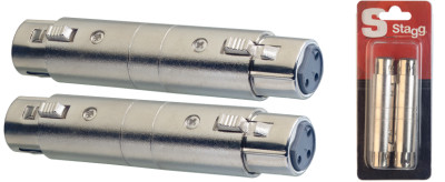 2x Female XLR/ female XLR adaptor in blister packaging