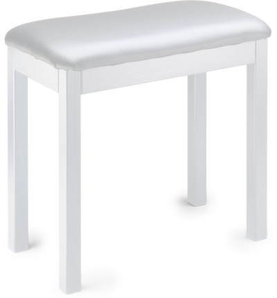 White metal piano or keyboard bench with black vinyl top