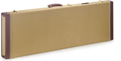 Vintage-style series gold tweed deluxe hardshell case for electric guitar, square-shaped model