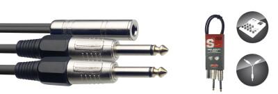 Y cable, jack/jack (f/m), 50 cm (1.6')