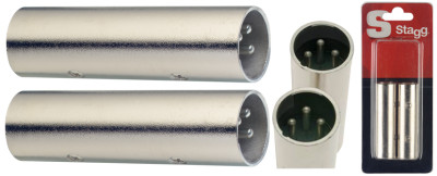 2x Symetrical male XLR/ symetrical male XLR adaptor in blister packaging