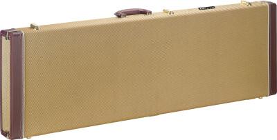Vintage-style goudkleurige tweed deluxe koffer voor elektrische basgitaar; rechthoekig model