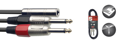 Y cable, jack/jack (f/m), 3 m (10')