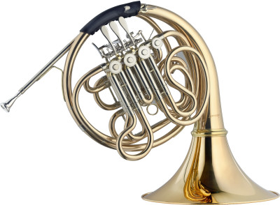 F/Bb Double Horn, 4 rotary valves, body in gold brass