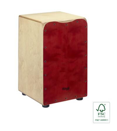Cajón de taille standard en bouleau avec plaque de frappe rouge