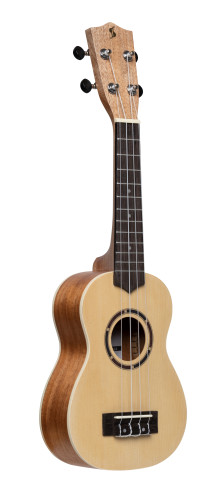 Traditional soprano ukulele with spruce top and black nylon bag