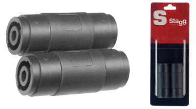 2x Female speaker plug/ female speaker plug adapter in blister packaging