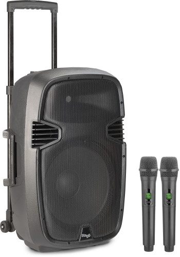 "12"" 2-way active trolley speaker, analog, class B, 2 microphones, 160 watts peak power (140 + 20)"