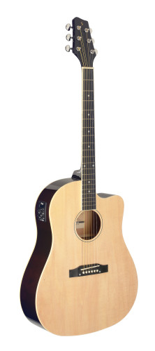 Cutaway acoustic-electric Slope Shoulder dreadnought guitar, natural colour