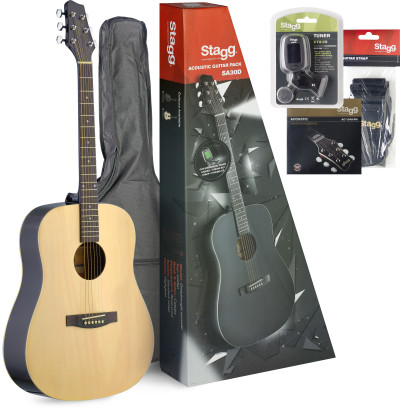 Ensemble guitare acoustique dreadnought + accessoires & CD d'apprentissage