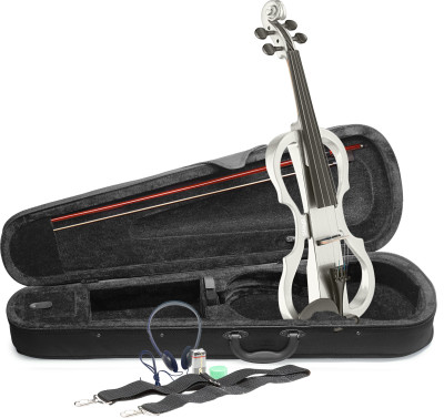 4/4 electric violin set with white electric violin, soft case and headphones