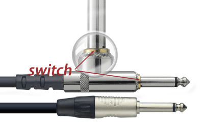 Instrument cable, jack/jack (m/m), 6 m (20'), with mute switch