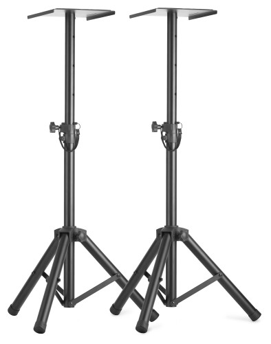 Two height-adjustable monitor or light stands with folding legs