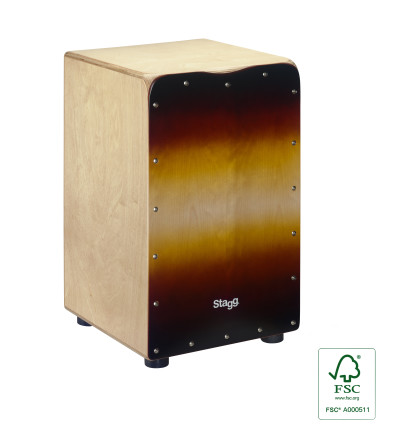 Standard-sized birch cajón with sunburst front board finish
