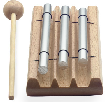 Table chime, three notes (C - E - G), with mallet