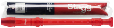 Soprano recorder with German fingering, translucent red
