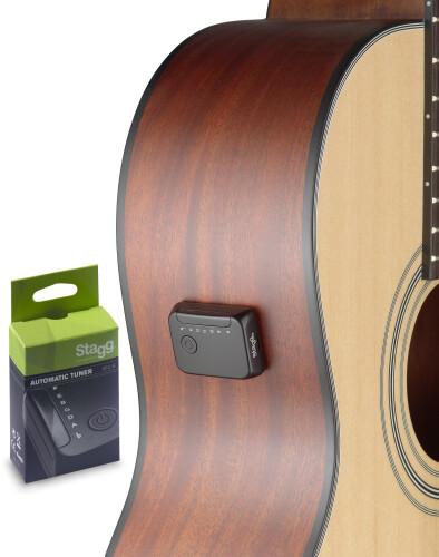 Mini accordeur automatique pour guitare acoustique ou électrique à six cordes, à visser ou à coller