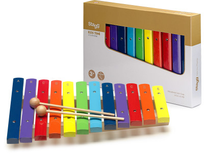 Xylophone with 12 colour-coded keys and two wooden mallets