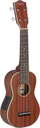 Electro-acoustic soprano Ukulele with solid Mahogany-A top, in black nylon