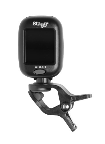 Black automatic chromatic clip-on tuner