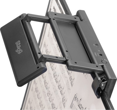 Foldable clip-on and free-standing LED lamp for music stand