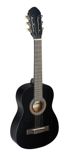 1/4 black classical guitar with linden top