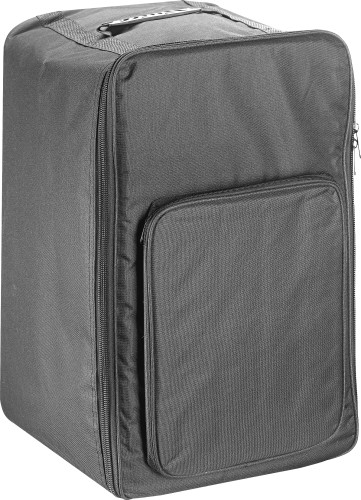 Standard-sized black padded bag for cajón