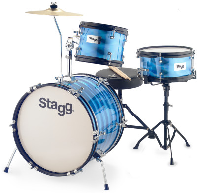 "3-piece junior drum set with hardware, 8"" / 10"" / 16"", blue"