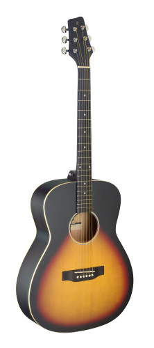 Auditorium guitar with basswood top, sunburst, lefthanded model