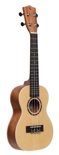 Traditional concert ukulele with spruce top and black nylon bag