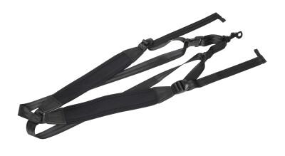 Fully-adjustable saxophone harness with soft shoulder padding, black
