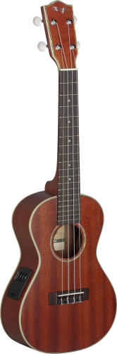 Electro-acoustic concert Ukulele with solid Mahogany-A top, in black nylon