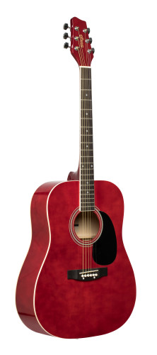 Red dreadnought acoustic guitar with basswood top