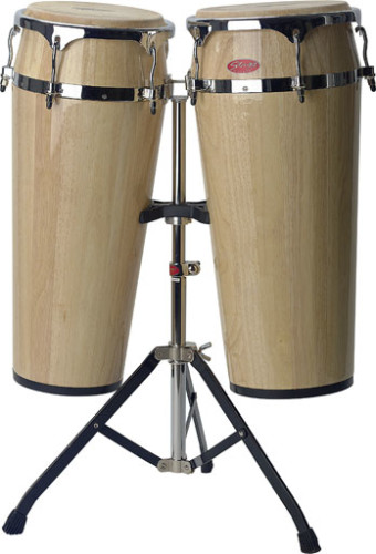 "2 x Latin drums 10""/11"" with height-adjustable stand (80-100cm)"