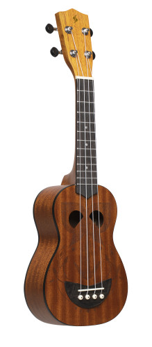 Tiki series soprano ukulele with sapele top, Eh finish, with black nylon gigbag
