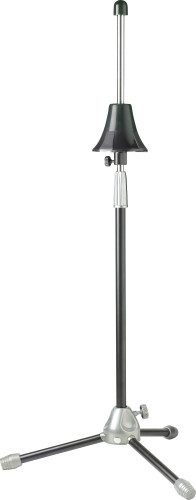 Large, heavy-duty foldable trombone stand with height-adjustable
