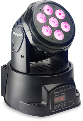 LED moving head with 7 x 10-watt RGBW 4-in-1 LED, HeadBanger XT included