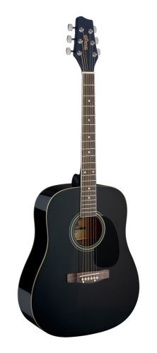Black dreadnought acoustic guitar with basswood top