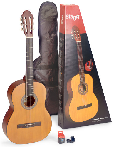 Guitar pack with 4/4 natural-coloured classical guitar with linden top, tuner, bag and colour box