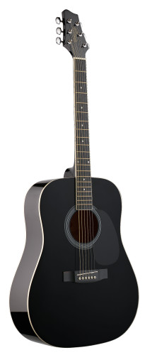 4/4 acoustic dreadnought guitar with black basswood top