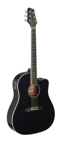 Cutaway acoustic-electric Slope Shoulder dreadnought guitar, black