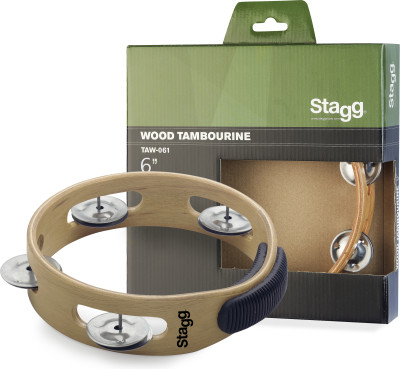 "6"" headless wooden tambourine with 1 row of jingles"